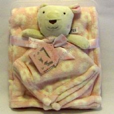 Teddy Bear Comforter and pram Blanket Gift Set. Pink